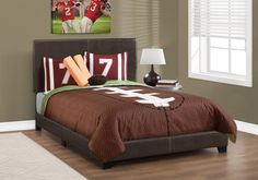 Brooklyn Double/Full Bed Frame (Dark Brown Faux Leather) . . . #furniture #homedecor #interiordesign #design #decor #home #living #office #family #entertainment #luxury #affordable #sale #discount #freeshipping #canada #toronto #usa #america #fashion #design #bedroom #comfort #happy #style