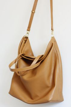 bb91b378ecb4 DOMI Top Zip Camel Brown Leather Tote Bag by MISHKAbags on Etsy Brown Leather  Totes