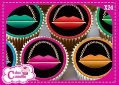 24 X LIPS SHAPED HANDBAGS MIXED  - EDIBLE CUPCAKE TOPPERS RICE PAPER 9511M