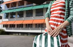#Facade Goes #Fashion: Paimio-väreissä | #Paimio #Sanatorium Colours #orange #green #stripes #architecture #AlvarAalto