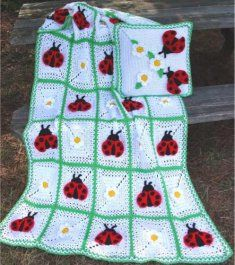 Ladybug Afghan and Pillow Pattern.  Love, Love, Love!  Yes, Ladybugs!!!