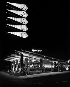 midcenturymodernfreak: Norms Restaurant 1957 | Architects: Armet & Davis (Now Armet Davis Newlove) | Photo: Jack Laxer | The oldest surviving Norms located on La Cienega Boulevard in West Hollywood, Los Angeles Via