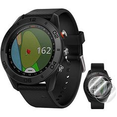 """Garmin Approach S60 Golf Watch Black with Black Band (010-01702-00) + Deco Essentials Approach S60 Screen Protector 2 Pack Garmin Approach S60 Golf Watch Black with Black Band Sleek GPS golf watch that reflects your passion on and off the course Large, 1.2"""" sunlight-readable color touchscreen display IN THE BOX: Charging/Data Cable BUNDLE INCLUDES: Garmin Approach S60 Golf Watch Black with Black Band - Deco Essentials Garmin Approach S60 Screen Protector 2pack Golf Swing Analyzer, Golf Gps Watch, Best Club, Golf Accessories, New Gadgets, Screen Protector, Smart Watch, Packing, Watches"""