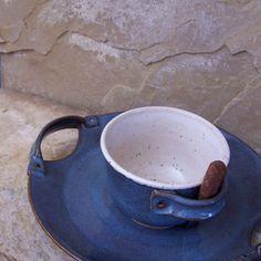 Rutile Blue Handmade Stoneware Ceramic Pottery Hors doeuvre Set.
