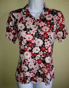 Cutter & Buck NEW Golf Floral Multi Color Short Sleeve Shirt Ladies PS