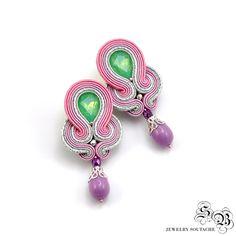 Colorful Clip-on Earrings, Pink Green Purple Soutache Earrings, Ellegant Clip On…