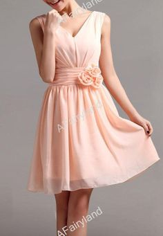 Peach pink chiffon Vneck prom/party/bridemaid dress by AFairyland, $58.00