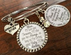 Mother of the BRIDE gift, BANGLE bracelet, Personalized wedding, Mother of the Groom Gift, I'll love you forever best friend and inspiration by buttonit on Etsy Mother Of The Groom Gifts, Mother Gifts, Mother Of The Bride, Our Wedding, Wedding Gifts, Wedding Things, Wedding Bells, Wedding Ceremony, Dream Wedding