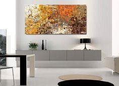 Produzione Quadri moderni astratti - 100% dipinti a mano. 4 Quadri Moderni Astratti Toni del marrone tortora arancione giallo bianco