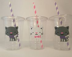 Are Cats Smarter Than Dogs Kitten Party, Cat Party, Birthday Party Celebration, Cat Birthday, Birthday Cakes, Party Cups, Animal Party, Paper Straws, Party Favors