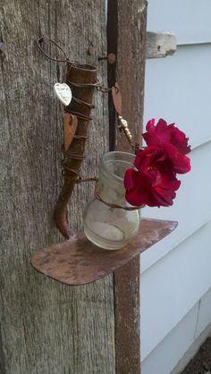 Vintage Rusty Hoe & Jar Hanging Flower Vase by RustyJunque