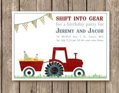 Tractor Birthday Party Invitation DIGITAL by pinkcreativeinvites, $15.00
