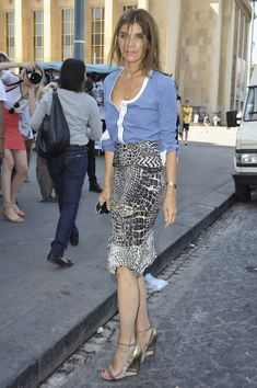 Carine Roitfeld, in Balenciaga S05 (Look 11) skirt, at Armani Privè  7.06.11