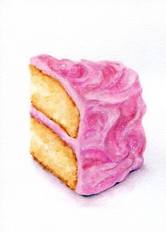Slice of Pink Cake - ORIGINAL Painting (Vintage Style Still Life, Kitchen Wall…