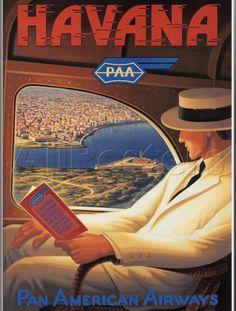 Havana, Cuba - Pan American Airways vintage airline travel poster