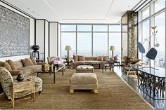 This gorgeous apartment by Valentino partner Giancarlo Giammetti that was designed by French great Jacques Grange.  He used two silk velvet tiger fabric by Le Manach on the armchairs and they both look so cozy and enveloping.