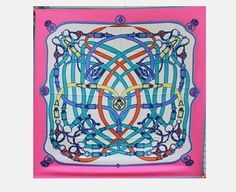 Large Square Silk Scarf Twill  Blue Pink by SummerMatcha on Etsy