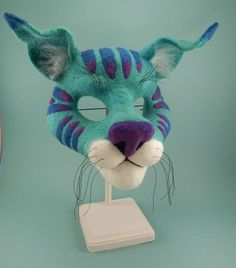 "A Needle Felted Cat Mask from the book ""Needle Felting Masks and Finger Puppets"" by Terese Cato"