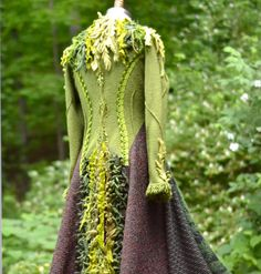 Green corset style sweater coat with felted by amberstudios, $600.00