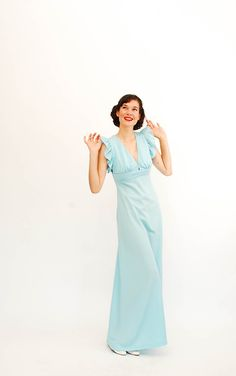 Vintage 1970s Maxi Dress - 70s Summer Dress - Sky Blue - Open Back. , via Etsy.