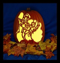 Lady and the Tramp - Hand Carved on a Foam Pumpkin - Plug in light with Switch included.