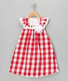 Trish Scully Child Red & White Gingham Ruffle Swing Dress - Infant