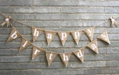 happy birthday  – Burlap banner for Birthday celebrations, Party decorations, Birthday bunting