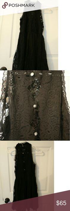 Free People Verushka mini dress NWT Mock neck lace dress from Free People. Beautiful lace design with slip and adorable buttons. Side zipper and back button closure. Free People Dresses