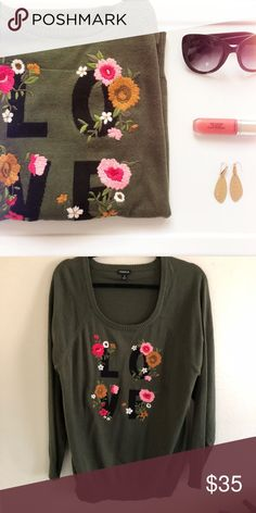 36766482470 Love sweater Love is in the air! It s a pretty olive color. Lightweight  sweater