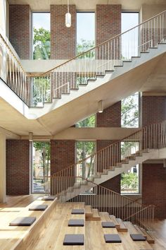 Morris+Company - Ortus home of Maudsley Learning, Denmark Hill - London Building Stairs, Brick Building, Building Design, Wood Interior Design, Interior Design Companies, Wood Architecture, School Architecture, Duggan Morris, Concrete Interiors