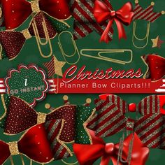 Christmas Planner Bow Cliparts New Year Holidays red gold Color Profile, New Year Holidays, Gift Wrapping Paper, Digital Papers, Digital Prints, Red Gold, Planner Stickers, Bows, Green Glitter