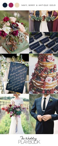 Navy, berry and antique gold wedding inspiration fall wedding styles / rustic october wedding / fall wedding stuff / fall wedding autumn / wedding ideas fall november Wedding 2017, Wedding Themes, Dream Wedding, Wedding Day, Trendy Wedding, Wedding Cakes, Wedding Bouquets, Wedding Bridesmaids, Wedding Favors