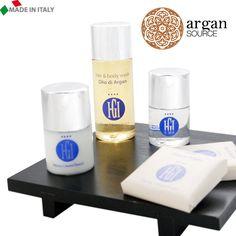 Linea cortesia BIO personalizzata con Aromaterapia all'OLIO di ARGAN. Prodotto tutto italiano, by www.alfera.it
