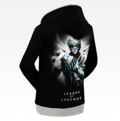 League of Legends Ezreal black hoodie for men long sleeve LOL game sweatshirt