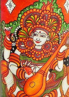 Goddess Saraswati - Wall Hanging - Folk Art Paintings (Mural Painting on Bamboo) Saree Painting, Kerala Mural Painting, Tanjore Painting, Madhubani Painting, Fabric Painting, Dress Painting, Madhubani Art, Black Canvas Paintings, Indian Art Paintings