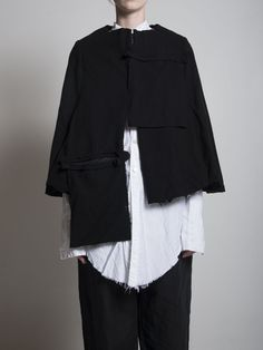 Elena Dawson Short Cape| Long Shirt | Linen Trousers #ElenaDawson #BlackCelebrationStore blackcelebrationstore.com