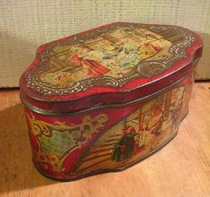Delightful Antique European Biscuit Tin with Fairy Tale or Folk Tale Artwork circa 1900. $78.00, via Etsy.