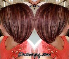 plum red bob with caramel highlights