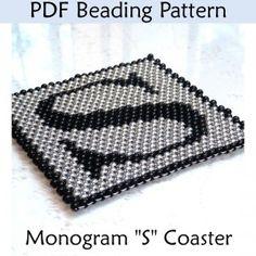Monogram Peyote Coaster PDF Beading Pattern