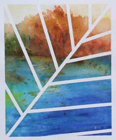 Original contemporary watercolor Painting, 8x10 desert magenta-orange landscape -