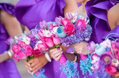 Purple and pink flowers | Charmed Wedding Blog | Jerrod Brown Studios