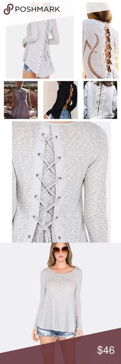 🎉HOST PICK 🎉NWT Lace-Up Back Heather Grey Tee While lace-up and corset style detail is all the rage this top gives you the trend in the most basic way. This top is beautifully understated and and so versatile! Comes in two colors and can be laced up all the way or only half the way up for added drama!                                 !                               Lace Up Deep Scoop Top HEATHER GREY Sleeve Length(cm) :S:64.5cm, M:65.8cm, L:67cm Bust(cm) : S:76cm, M:81cm, L:86cm…
