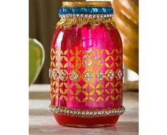 Moroccan lantern with a mason jar using new Mod Podge Rocks stencils