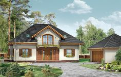 Projekt domu z poddaszem Filip o pow. 181,11 m2 z dachem kopertowym, z tarasem, z wykuszem, sprawdź! Interior And Exterior, Interior Design, Cool House Designs, Home Fashion, Home Goods, House Plans, Cabin, Mansions, House Styles