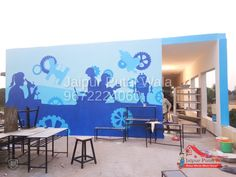 we drawn science wall art painting on wall, experienced painter artist cartoon painting school wall drawing play school drawing painting