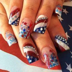 Holiday Nail Designs, Holiday Nail Art, Cute Nail Designs, Awesome Designs, Fingernail Designs, Acrylic Nail Designs, Acrylic Nails, Coffin Nails, Patriotic Nails