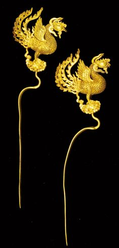 Gold Hairpins in Phoenix Shape, Mid-16th Century, MingDynasty. On loan from the Hubei Provincial Museum, P.R. China.