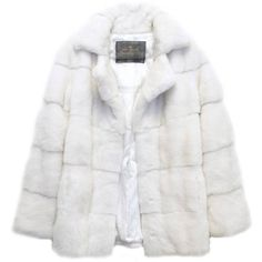 Preowned Lilly E Violetta White Natural Mink Fur Coat ($4,514) ❤ liked on Polyvore featuring outerwear, coats, jackets, white, leather-sleeve coats, white coat, long sleeve coat, mink coat and mink fur coat