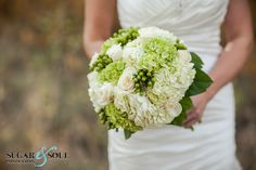 Fresh greens and whites - hydrangea, roses, hypericum berries by @Academy Sports + Outdoors Florist