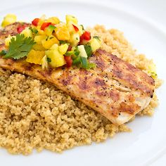 Grilled Mahi Mahi topped with Fresh Pineapple-Orange Salsa served over Coconut Couscous. Made it with mango instead of pineapple. Used jerk and Cajun seasoning. Used half coconut milk/ half chicken broth in couscous and didn't add sugar. Grilling Recipes, Fish Recipes, Seafood Recipes, Dinner Recipes, Cooking Recipes, Healthy Recipes, Dinner Ideas, Dinner Entrees, Salmon Recipes